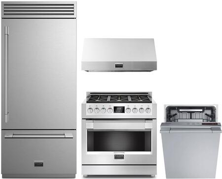 4 Piece Kitchen Appliances Package with F7PBM36S1R 36″ Bottom Freezer Refrigerator  F6PGR366S1 36″ Gas Range  F6PH36S1 36″ Under Cabinet Convertible