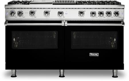 Viking 5 Series VGR5606GQBK Freestanding Gas Range Black, Front view