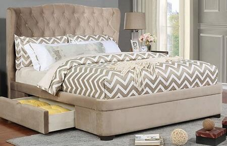 Furniture of America Aoife CM7544BED Bed Beige, 1