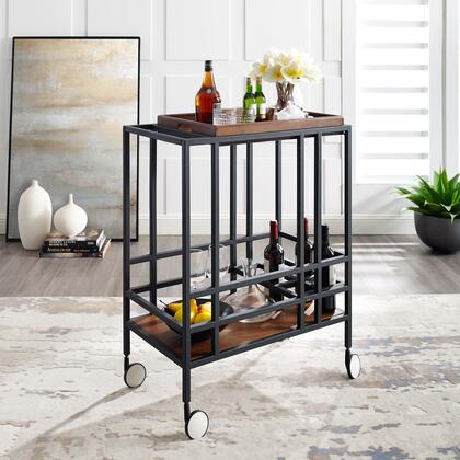 Biony Collection BC123-09WK-AC Bar Cart with Removable Serving Tray  Wine Bottle and Stemware Storage and Casters in Black and Walnut