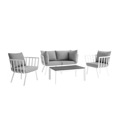 Riverside Collection EEI-3784-SLA-WHI 4 Piece Outdoor Patio Aluminum Set with Powder-Coated Aluminum Frame  All-Weather Fabric Cushions and Plush 4″