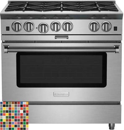 "BlueStar Platinum BSP366BLCCPLT Freestanding Gas Range Custom Color, 36"" Platinum Series Range"