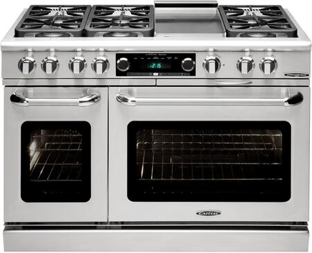 """CSB484G2-L 48"""" Connoisseurian Series Dual Fuel Liquid Propane Range with Self Clean 6 Sealed Burners 12"""" Griddle and 7.8 cu. ft. Capacity"""