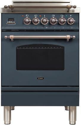 Ilve Nostalgie UPN60DVGGGUYLP Freestanding Gas Range , Blue Grey Custom RAL Color