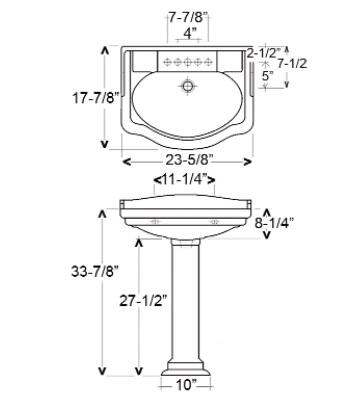 Barclay  3854BQ Sink Bisque, Specifications