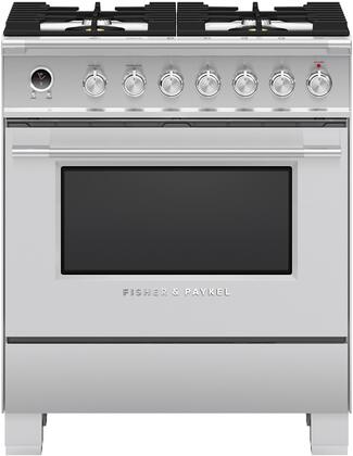 Fisher Paykel Classic OR30SCG6X1 Freestanding Dual Fuel Range Stainless Steel, Front view