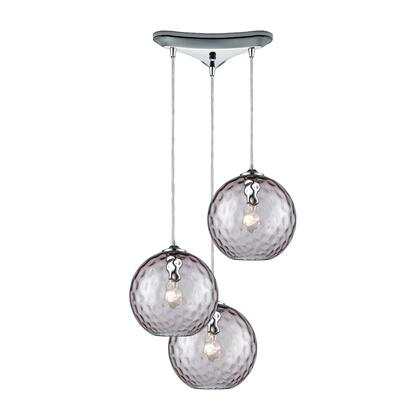 31380/3PRP Watersphere 3 Light Triangle Pan Fixture in Polished Chrome with Purple Hammered