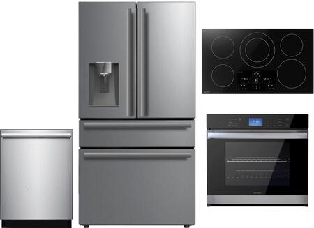 4 Piece Kitchen Appliances Package with SJG2254FS 36″ Counter Depth 4 Door French Door Refrigerator  SWA3052DS 30″ Electric Single Wall Oven