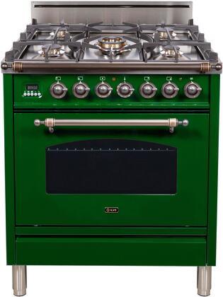 Ilve Nostalgie UPN76DVGGVSY Freestanding Gas Range Green, UPN76DVGGVSY Gas Range