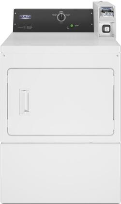 Maytag MDE20CSAYW 27 Commercial Electric Dryer with 7.4 cu. ft. Capacity, Front Access Panel, Reversible Door, Porcelain Enamel Top in White
