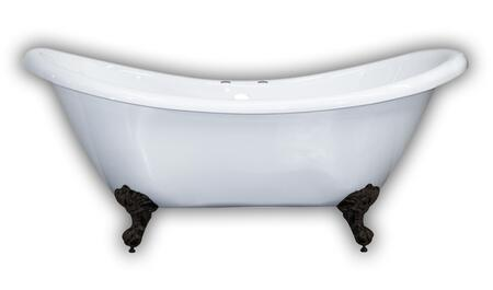 ADES-DH-ORB Acrylic Double Ended Slipper Bathtub 68″ X 28″ with 7″ Deck Mount Faucet Drillings and Oil Rubbed Bronze