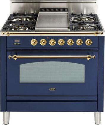 Ilve Nostalgie UPN90FDVGGBL Freestanding Gas Range Blue, UPN90FDVGGBL Gas Range