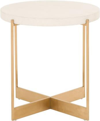 Sample Collection Z-R0557 20″ Alloy Accent Table with Round Shape  Stainless Steel Base and Light Weight Concrete Top in White and Brushed Gold