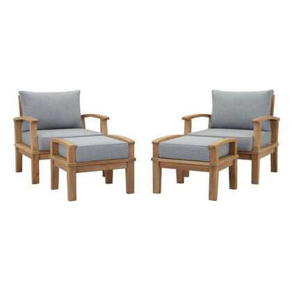 Marina Collection EEI-1537-NAT-GRY-SET 4 PC Outdoor Patio Teak Set in Natural Grey