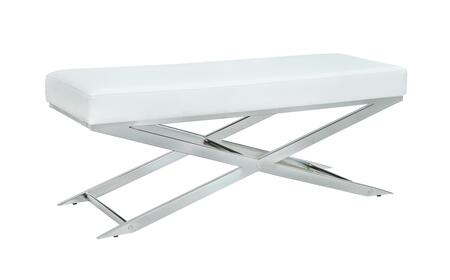 JASMIN-BCH-WHT Contemporary Upholstered Bench with X-Shaped Legs and steel Frame in Polished Stainless