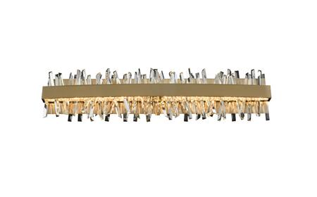 Glacier 030233-038 32″ LED ADA Bath in Brushed Champagne Gold Finish with Firenze Crystal Spears