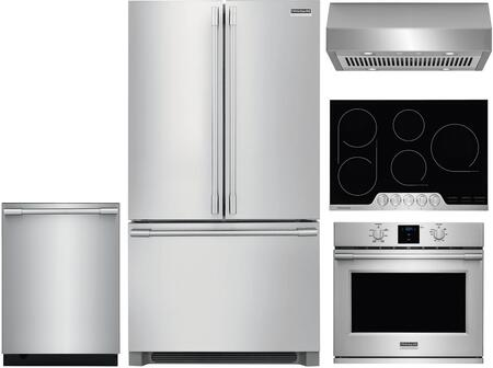 5 Piece Kitchen Appliances Package with 36″ French Door Refrigerator  30″ Electric Single Wall Oven  30″ Electric Cooktop  30″ Under Cabinet Ducted