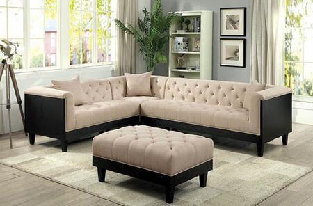 Furniture of America Hillary CM6087SECTOT Living Room Set Beige, Main Image