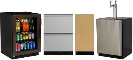 4 Piece Kitchen Appliances Package with ML24BCF2LP 24″ rage Center  ML24BTP3LP 24″ Beer Dispenser  ML24RDS3NS 24″ Counter Depth Refrigerator and