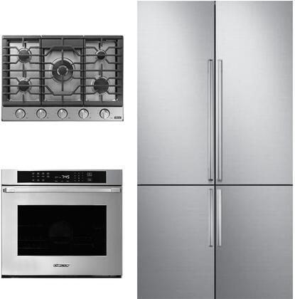 3 Piece Kitchen Appliances Package with DRF427500AP 42″ French Door Refrigerator  HWO127FS 27″ Electric Single Wall Steam Oven and HCT305GSNGH 30″