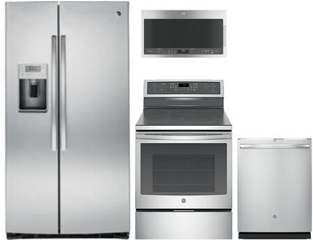 4 Piece Kitchen Appliances Package with PSE25KSHSS 36″ Side by Side Refrigerator  PHB920SJSS 30″ Electric Induction Range  PVM9005SJSS 30″ Over the