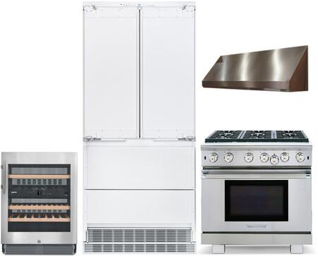 """4 Piece Kitchen Appliances Package with HCB2082 36"""" French Door Refrigerator ARROB636N 36"""" Gas Range MAES3618SS1200B 36"""" Under Cabinet Convertible"""