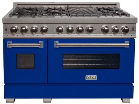 """RAS-BM-48 48"""" Blue Matte Professional Natural Gas Dual Fuel Range with 6 Italian Burners 6 cu. ft. Capacity Oven Griddle Cast Iron Grates and Dual"""