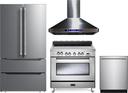4 Piece Kitchen Appliances Package with VERF36CDSS 36″ French Door Refrigerator  VEFSEE365SS 36″ Electric Range  VEHOOD36CH 36″ Wall Mount Range Hood