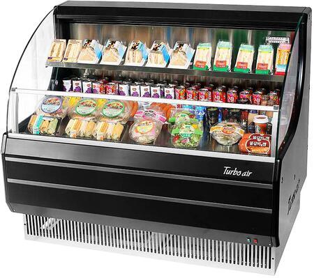 Turbo Air TOM50LBN Display and Merchandising Refrigerator Black, TOM50LBN Angled View