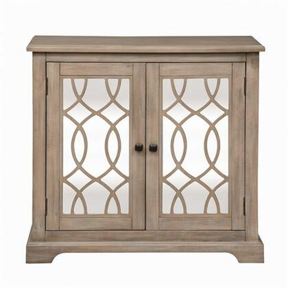 Alpine Series Collection Cabinet with Two Mirrored Doors  Decorative Grid Insert  Bracket Feet  Antique Bronze Square Knob Hardware  One Adjustable