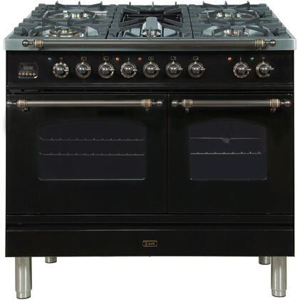 Ilve Nostalgie UPDN100FDMPNYLP Freestanding Dual Fuel Range Black, UPDN100FDMPNYLP Liquid Propane Range