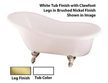 Barclay  ATS60WHPB Bath Tub White, White Tub Finish with Clawfoot Legs in Brushed Nickel Finish Shown
