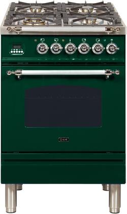 Ilve Nostalgie UPN60DMPVSX Freestanding Dual Fuel Range Green, 1