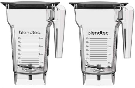 40-710-02 40-609-62 (Pack of 2) 75 oz. Clear FourSide Blender Jar with Soft Lids and 3″ Wingtip