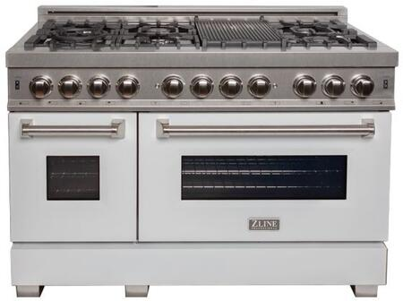 """RAS-WM-48 48"""" White Matte Professional Natural Gas Dual Fuel Range with 6 Italian Burners 6 cu. ft. Capacity Oven Griddle Cast Iron Grates and"""