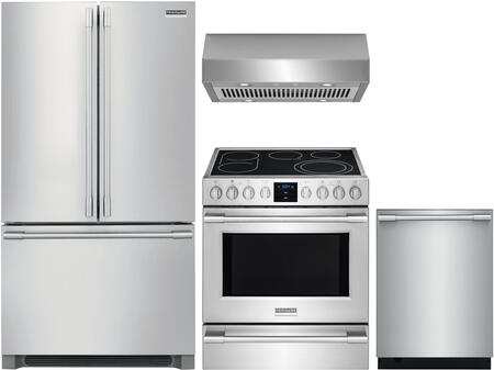 4 Piece Kitchen Appliances Package with FPBG2278UF 36″ French Door Refrigerator  FPEH3077RF 30″ Electric Range  FHWC3050RS 30″ Under Cabinet Ducted