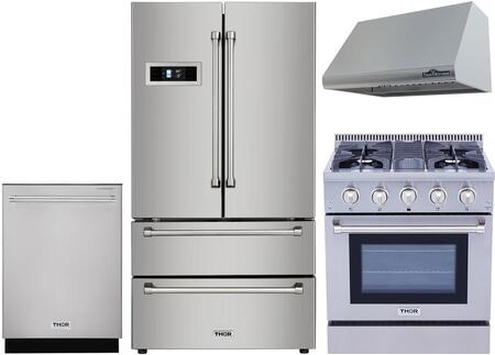 4 Piece Kitchen Appliances Package with HRF3601F 36″ French Door Refrigerator  HRG3080U 30″ Gas Range  HRH3005U 30″ Under Cabinet Ducted Hood and