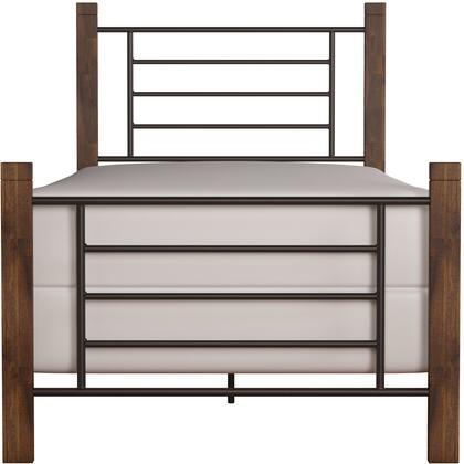 Raymond Collection 2591-330 Metal Twin Bed with Spindle-style details and Wood Posts in Black and Weathered Dark