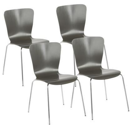 Bentwood Collection DC-TW-STAKGY4 Set of 4 Dining Chair with Wood Construction  Contemporary Style  High-Back Support Backrest  Chrome Frame and