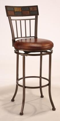 4266-830 Montero 45 High Bar Stool with 360 Degree Swivel  Patterned Slate Motif and Brown Faux Leather Upholstery in