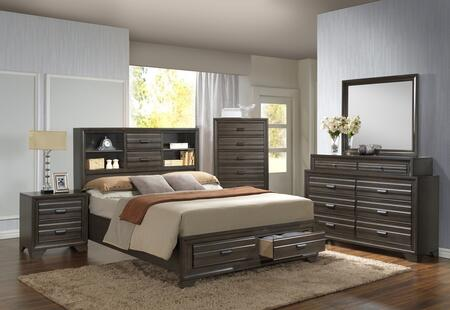 Myco Furniture Eddison Collection 5 Pc Bedroom Set With King Size Bed Dresser Mirror Chest Nightstand In Grey Finish Appliances Connection