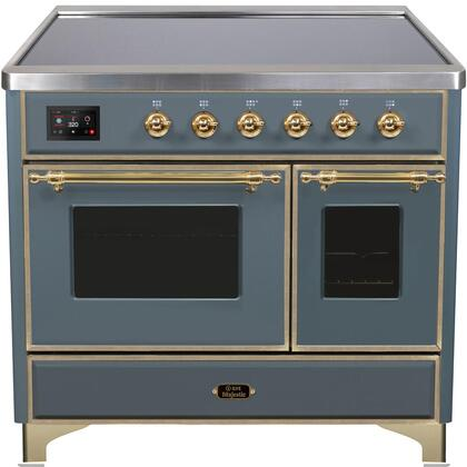 Ilve Majestic II UMDI10NS3GUG Freestanding Electric Range Blue Grey, Blue Grey Custom RAL Color