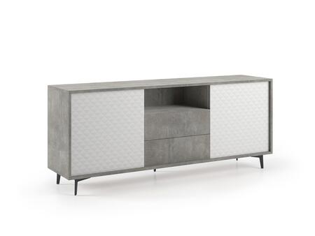 Cameron KD-181G 72″ x 18″ Buffet-Server with 2 White Pattern Melamine Doors  2 Drawers and 1 Shelf in Concrete