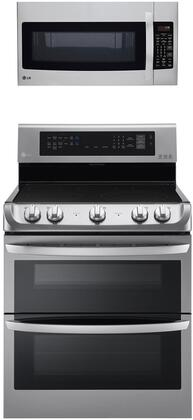 """2 Piece Kitchen Appliances Package with LDE4413ST 30"""" Electric Range and LMVH1711ST 30"""" Over the Range Microwave in Stainless"""
