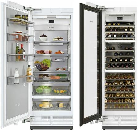 """MasterCool Column Set with K2811SF 30"""" Smart Left Hinge Column Refrigerator and KWT2611SF 24"""" Smart Left Hinge Triple Zone Wine Cooler in Stainless"""