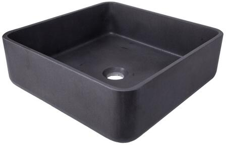 EB_S046LS-H Thin Lip Square Vessel Sink in Black Lava Stone with pop-up or Grid Drain in