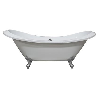 ADESXL-NH-CP Extra Large Acrylic Double Slipper Clawfoot Tub  Polished Chrome Feet and No Faucet