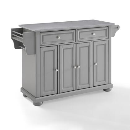 Alexandria Collection KF30202AGY Stainless Steel Top Kitchen Island/Cart in Gray