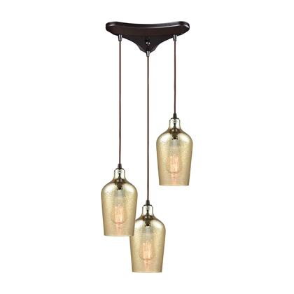 10840/3 Hammered Glass 3 Light Triangle Pan Fixture in Oil Rubbed Bronze with Hammered Amber Plated