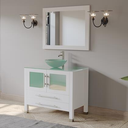 8111BW-BN 36″ White Solid Wood and Glass Single Vessel Sink Vanity set with a Brushed Nickel Faucet and